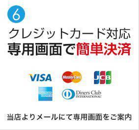 クレジットカード対応専用画面で簡単決済
