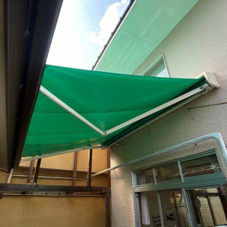 東京都小平市|オーニングテント生地張替えの施工事例(保育園・幼稚園)