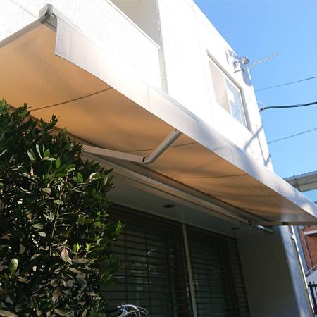 神奈川県藤沢市|オーニングテント生地張替えの施工事例(店舗)